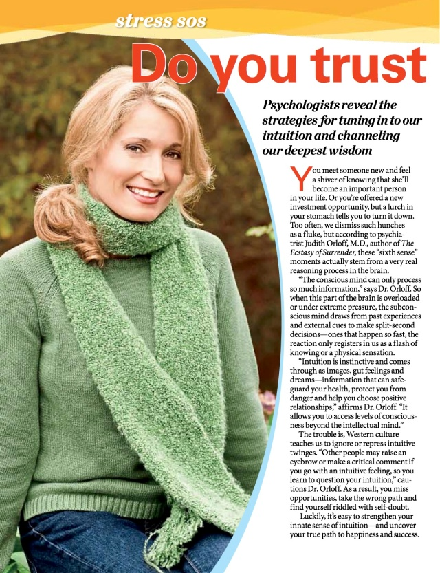 First for Women Intuition magazine article copy